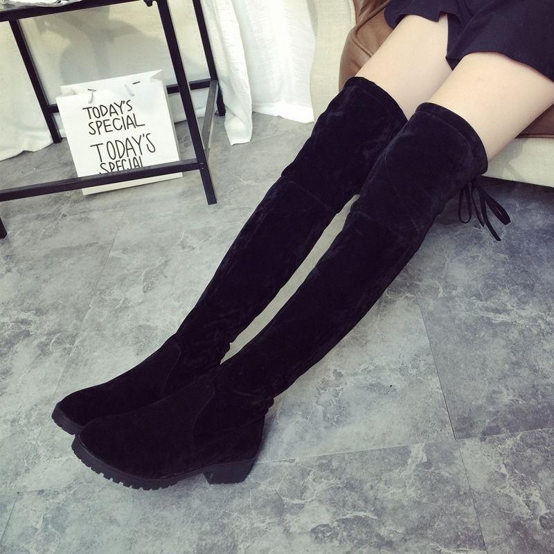 Sepatu Boots Wanita Keluaran Terbaru With Jahitan Renda Boot Diatas Lutut Datar Sepanjang Paha-Internasional