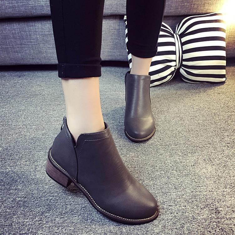 Beli Sepatu Boots Wanita Perempuan Klasik Pendek Ritsleting Sepatu Bot Sepatu Hak Tebal Panas Abu Abu Internasional Di Hong Kong Sar Tiongkok