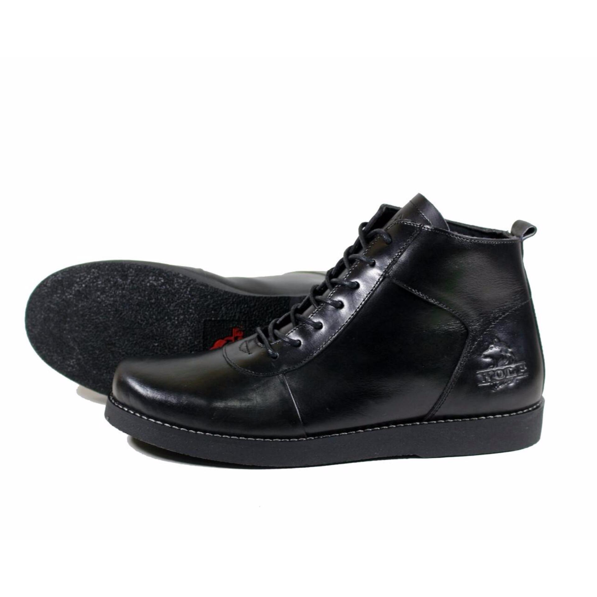 Toko Sepatu Brodo Wolf Golden Hitam Kulit Terlengkap