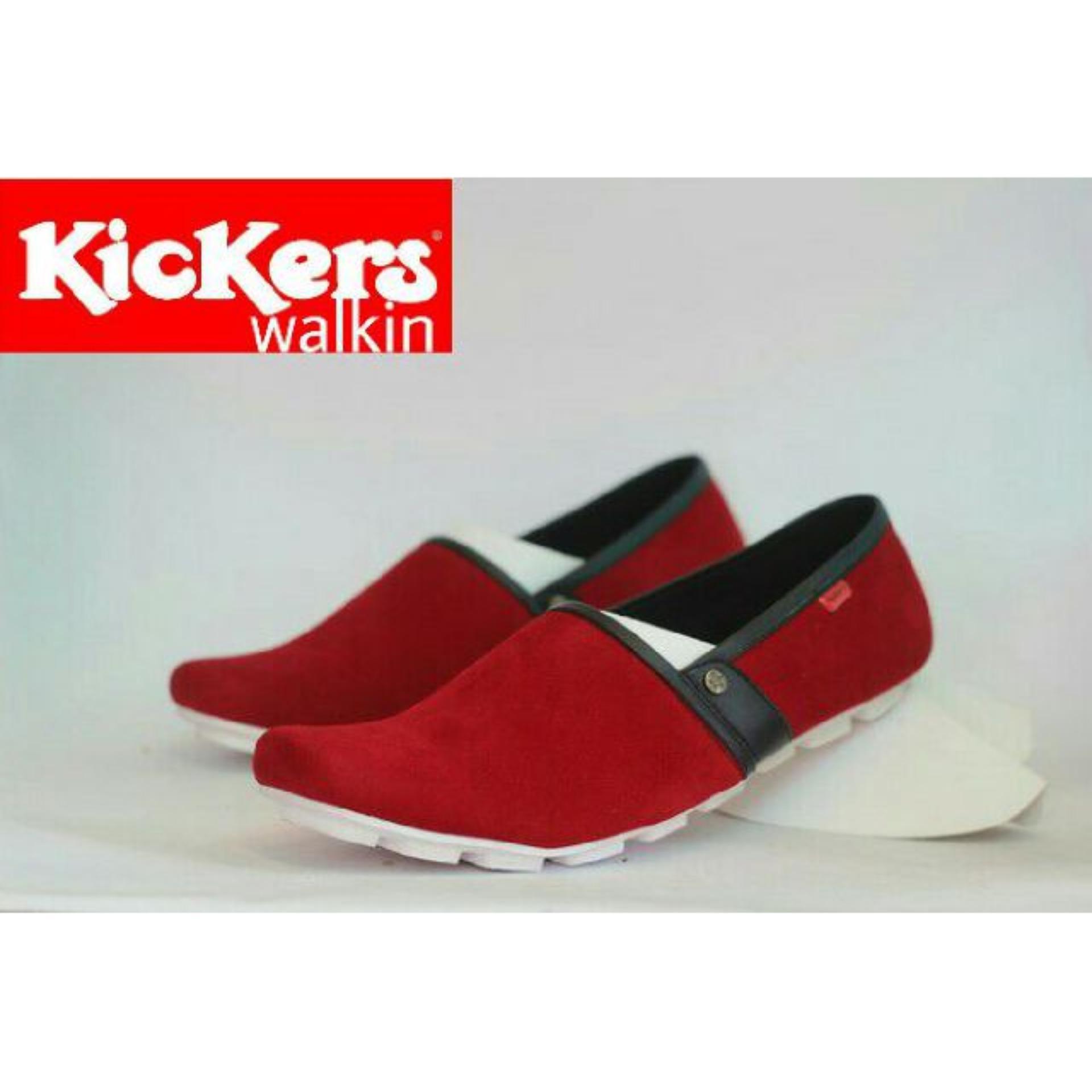 Spesifikasi Sepatu Casual Pria Slip On Pria Kickers Walkin Kulit Suede Free Kaos Kaki Online