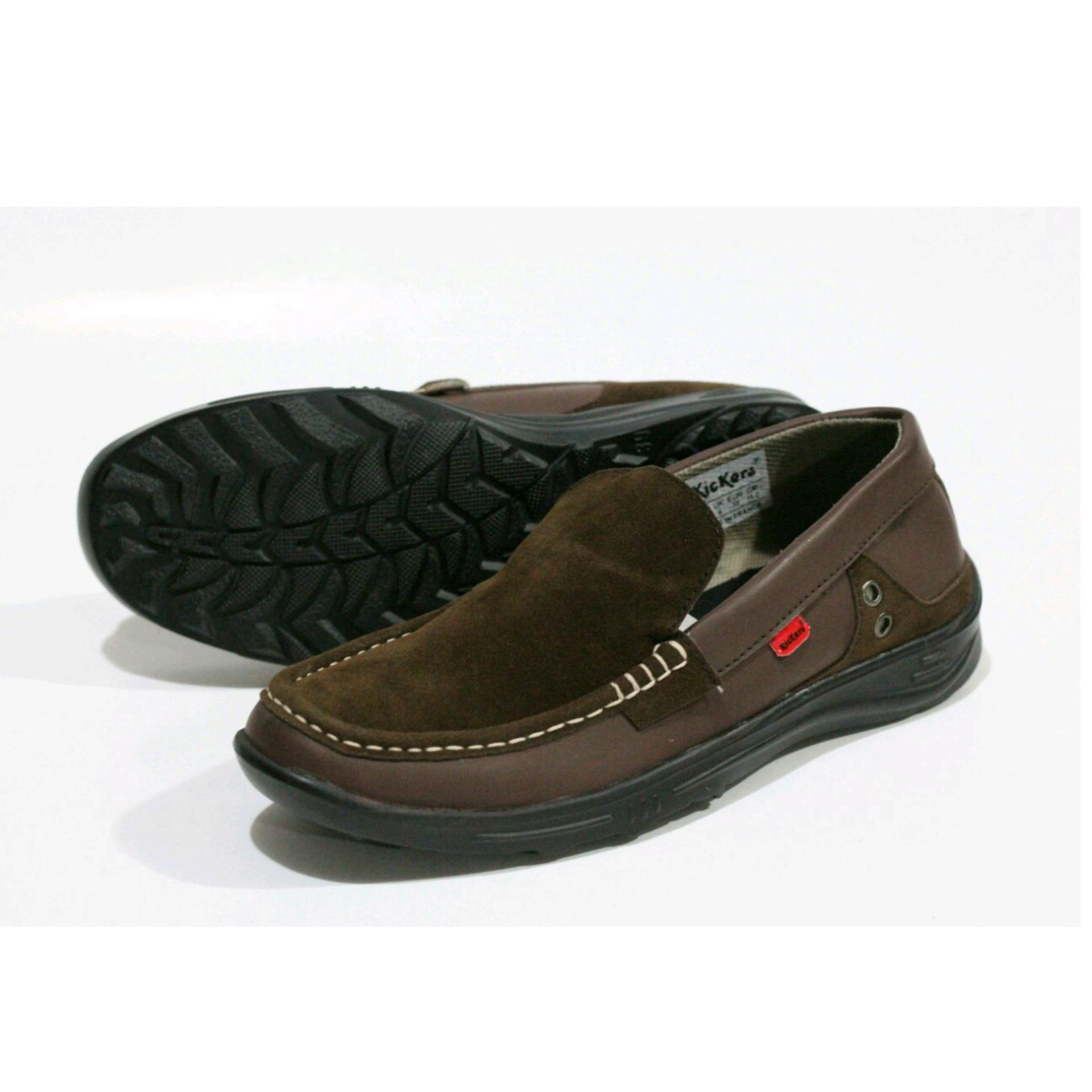 Sepatu Casual Slip On Kickers Suede Leather Drak Brown Promo Beli 1 Gratis 1