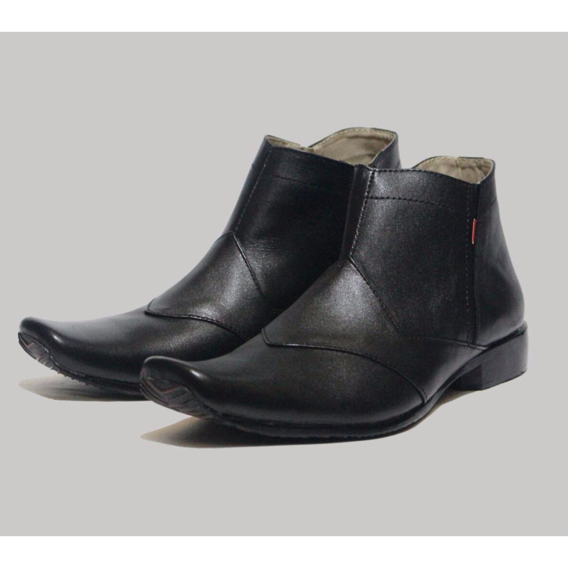Harga Sepatu Cevany Pantopel Resleting Zipper Kulit Asli Hitam Baru
