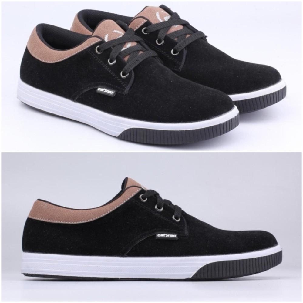 Spek Sepatu Kets Pria Sekolah Kuliah Sneakers Casual Hitam Bertali Catenzo Jawa Barat
