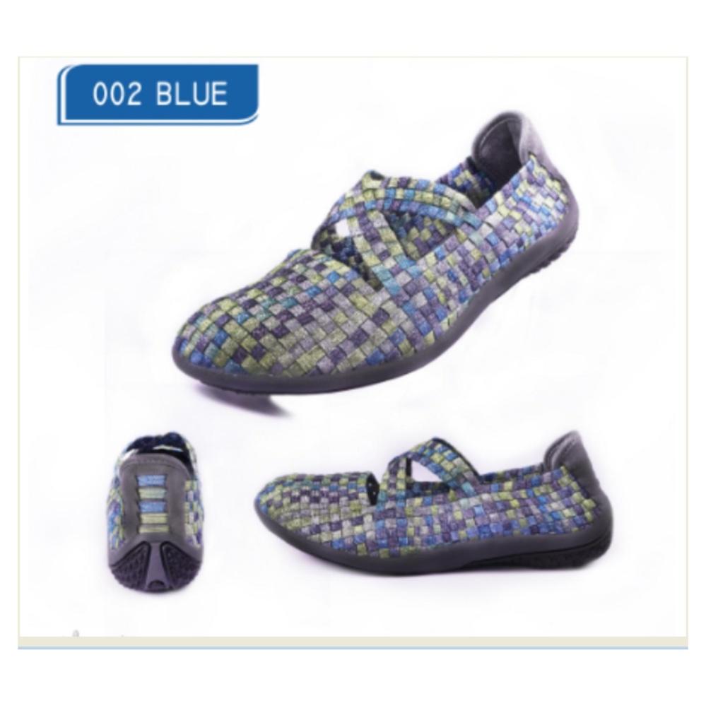 Harga Sepatu Korea Casual Slip On Import Wanita 002 Blue Terbaik