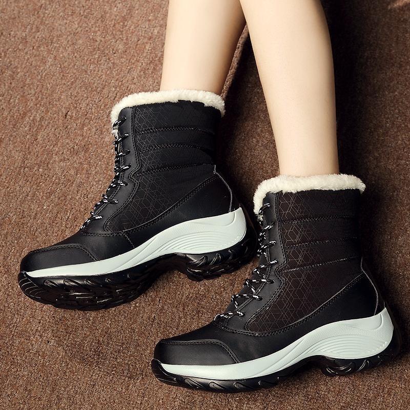 Harga Sepatu Kulit Sepatu Datar Sepatu Musim Dingin Yang Hangat Tube Tebal Plus Velvet Waterproof Non Slip Sepatu Ukuran Lebih Internasional Yang Murah Dan Bagus