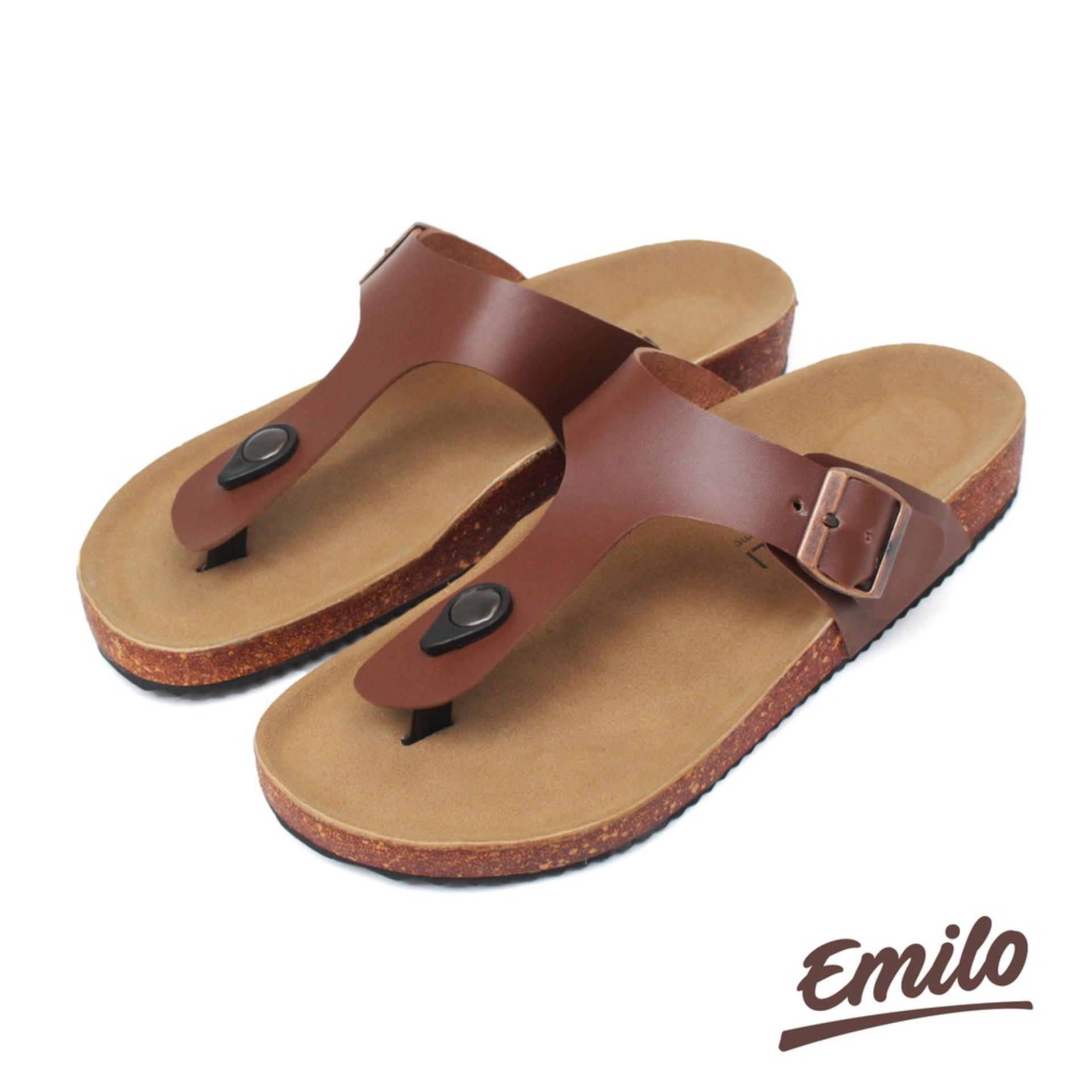 Sepatu Kulit Bandung - Emilo Men Footbed Original Sandal Pria Kasual Sendal Jepit Casual