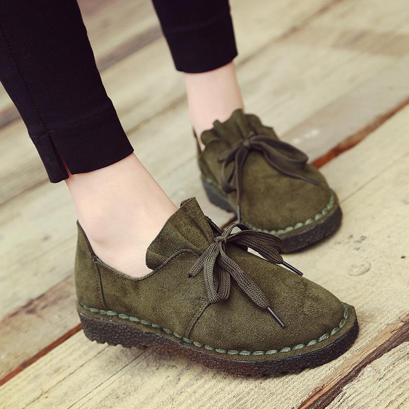 Harga Sepatu Oxford Wanita Suede Flat Hijau Hijau Baru