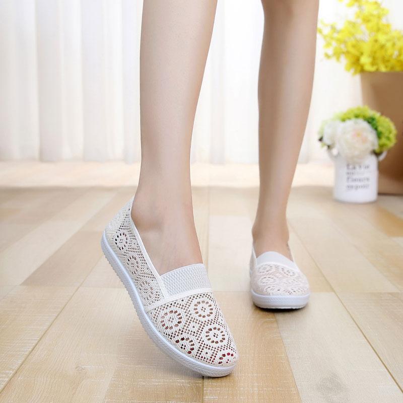 Diskon Sepatu Mesh Musim Panas Perempuan Sepatu Jaring Datar Wanita Nasi Putih Other Tiongkok