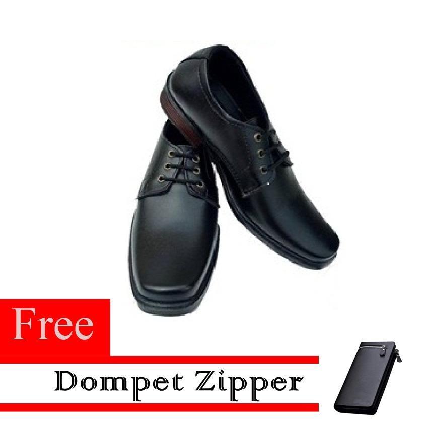Sepatu Pantofel Pria Bertali Free Dompet Zipper Resleting - Hitam