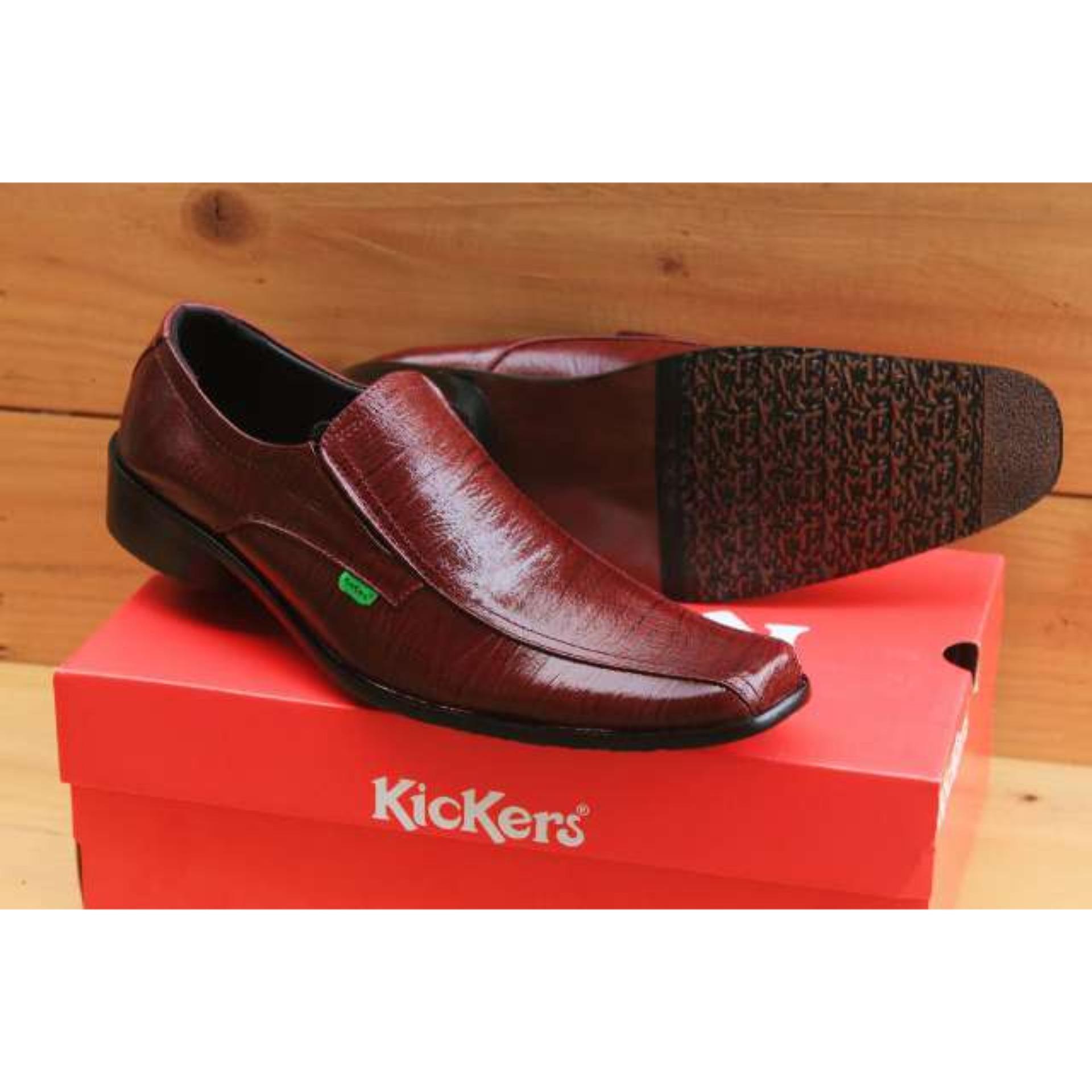 Sepatu Pantofel Pria Kulit Asli Kickers Formal Kerja Kantoran Slop Casual