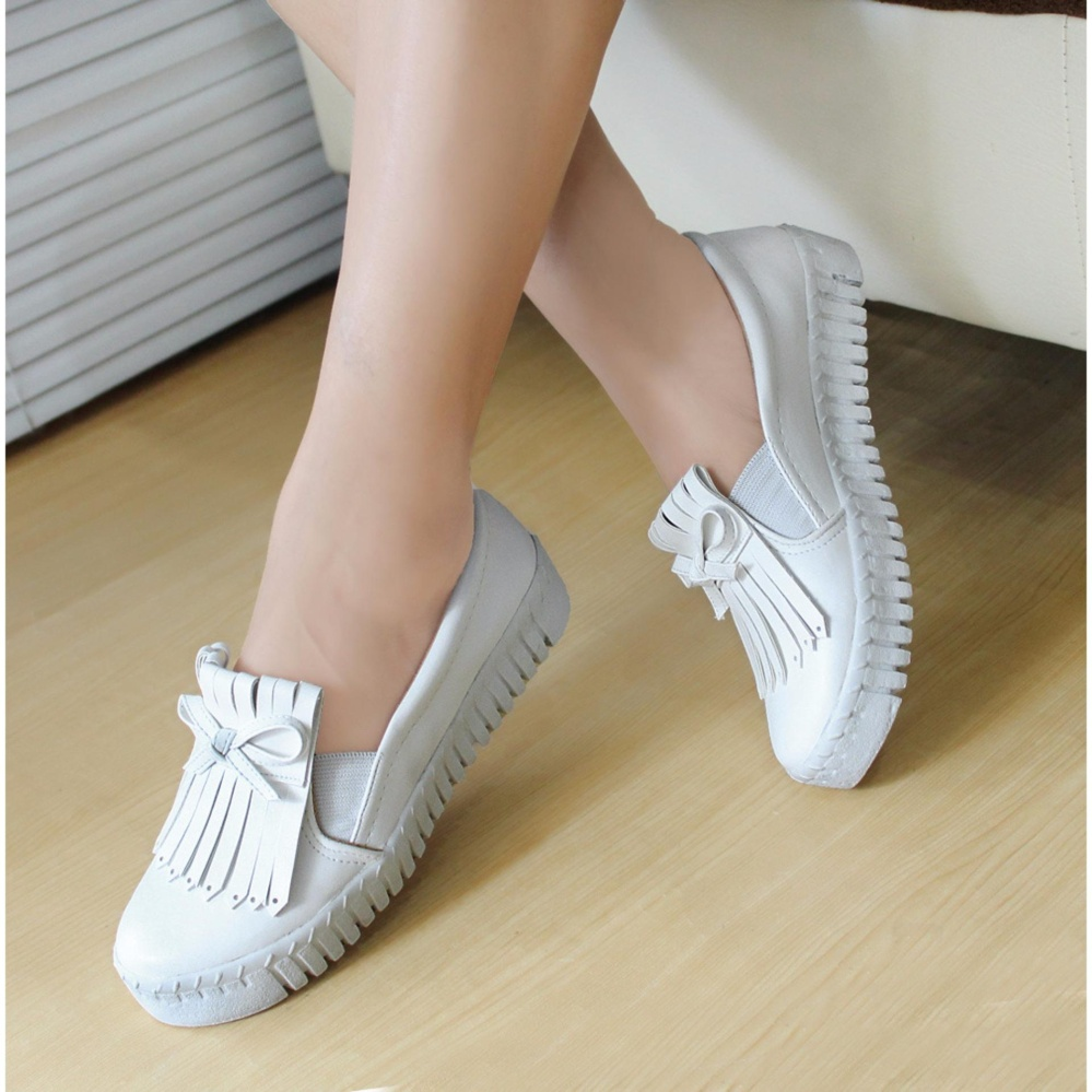 Spesifikasi Sepatu Poxing Slip On Wanita Sintetis Rumbai Putih Bps 01 Yg Baik