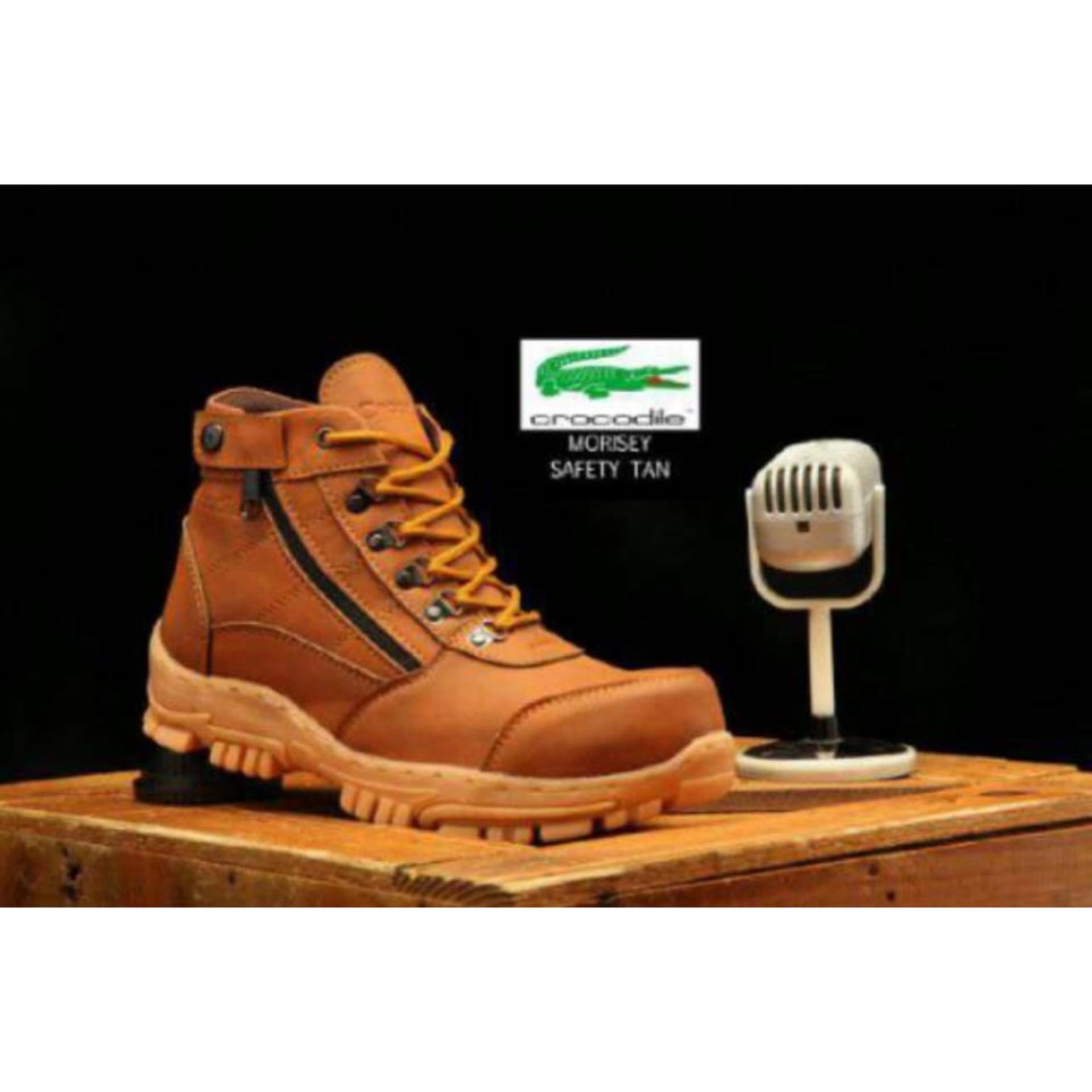 Jual Sepatu Pria Boots Safety Crocodile Safety Boots Hitam Tan Jawa Barat