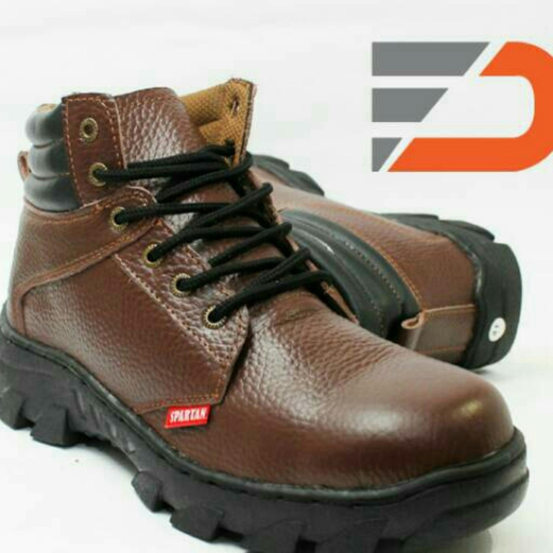 Spesifikasi Sepatu Safety Boots Hiking Touring Kerja Bahan Kulit Sapi Asli Warna Coklat Dan Harganya