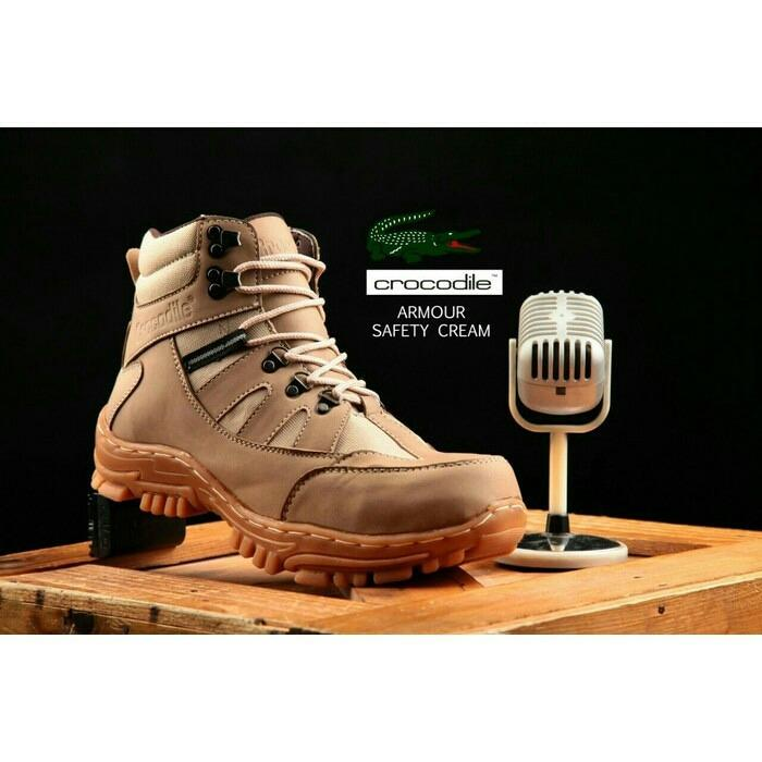 Jual Sepatu Safety Boots Pria Crocodile Hitam Model Armour Delta Bickers Hiking Gunung Antik
