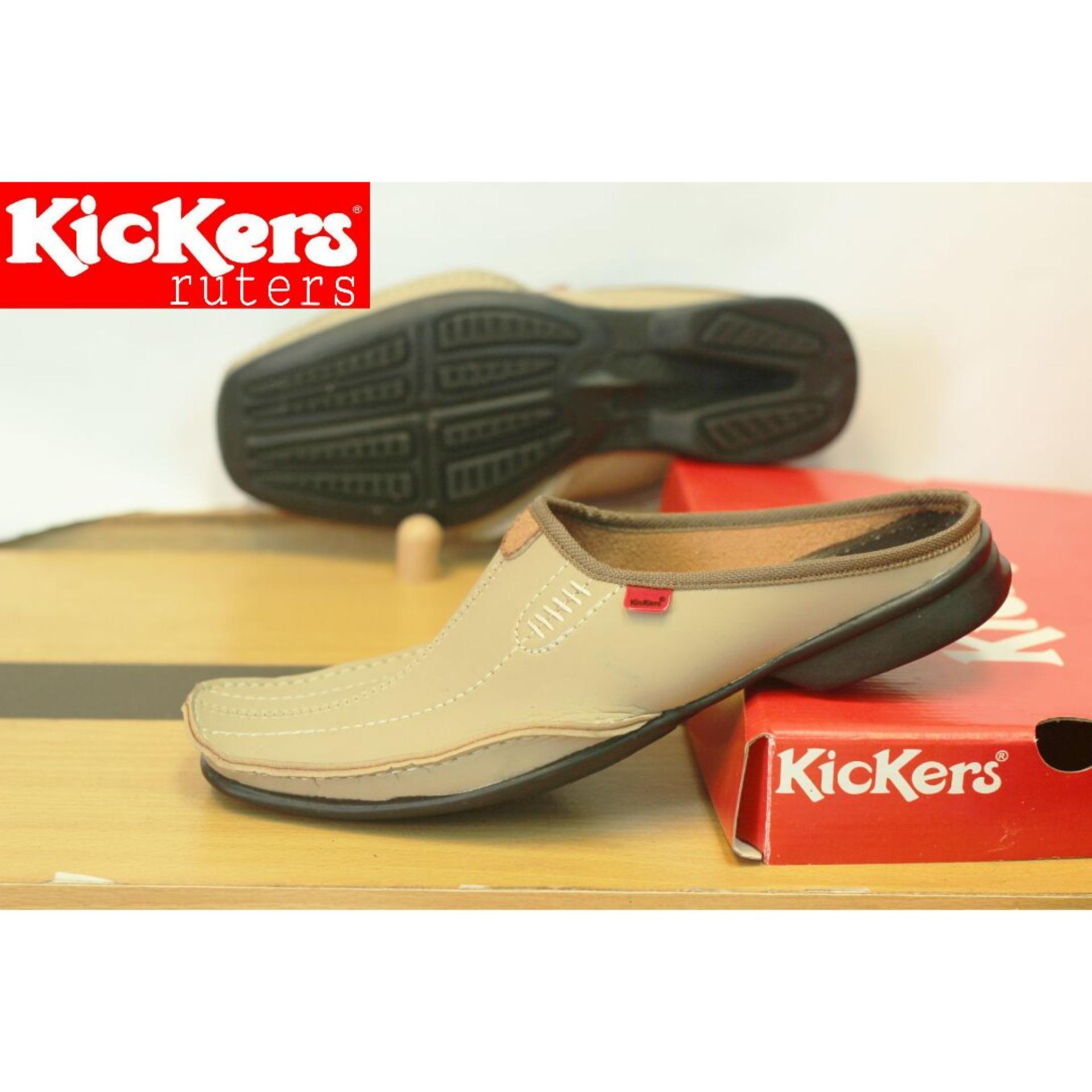 Sepatu Sandal Kickers Bustong Ruters Kulit Sintetis Premium - Sepatu Sandal Pantofel Pria Kickers - Sandal Pria Slop