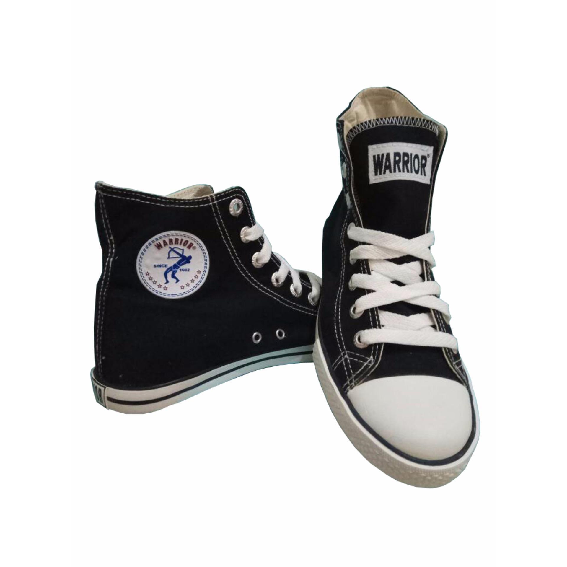 Harga Hemat Sepatu Sekolah Warrior Athena High Cut Hitam Putih