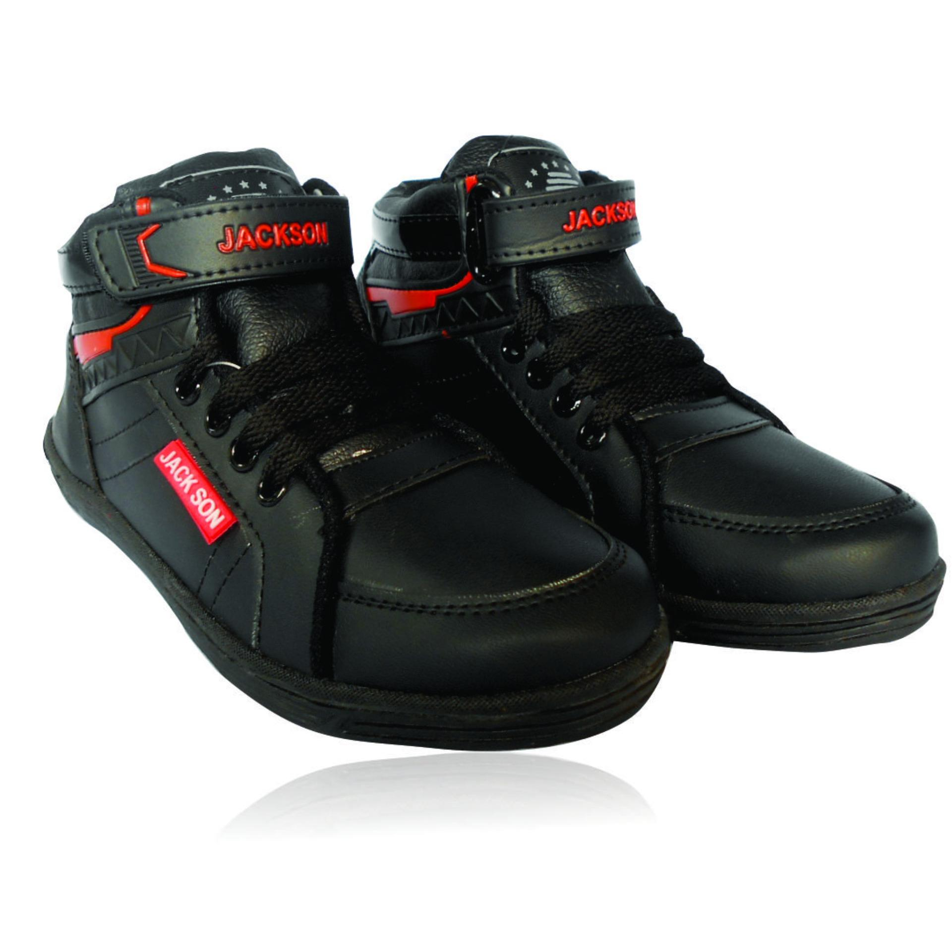 Sepatu Sekolah Anak - Hitam - Model Tali