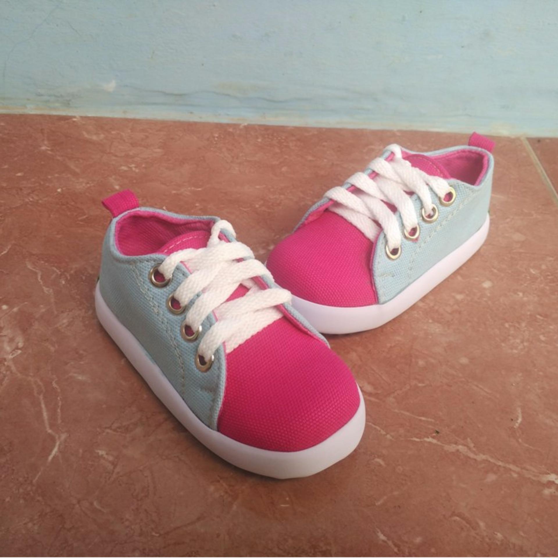 Jual Sepatu Sneaker Anak Perempuan Biru Pink Lucu By Shuku Baru