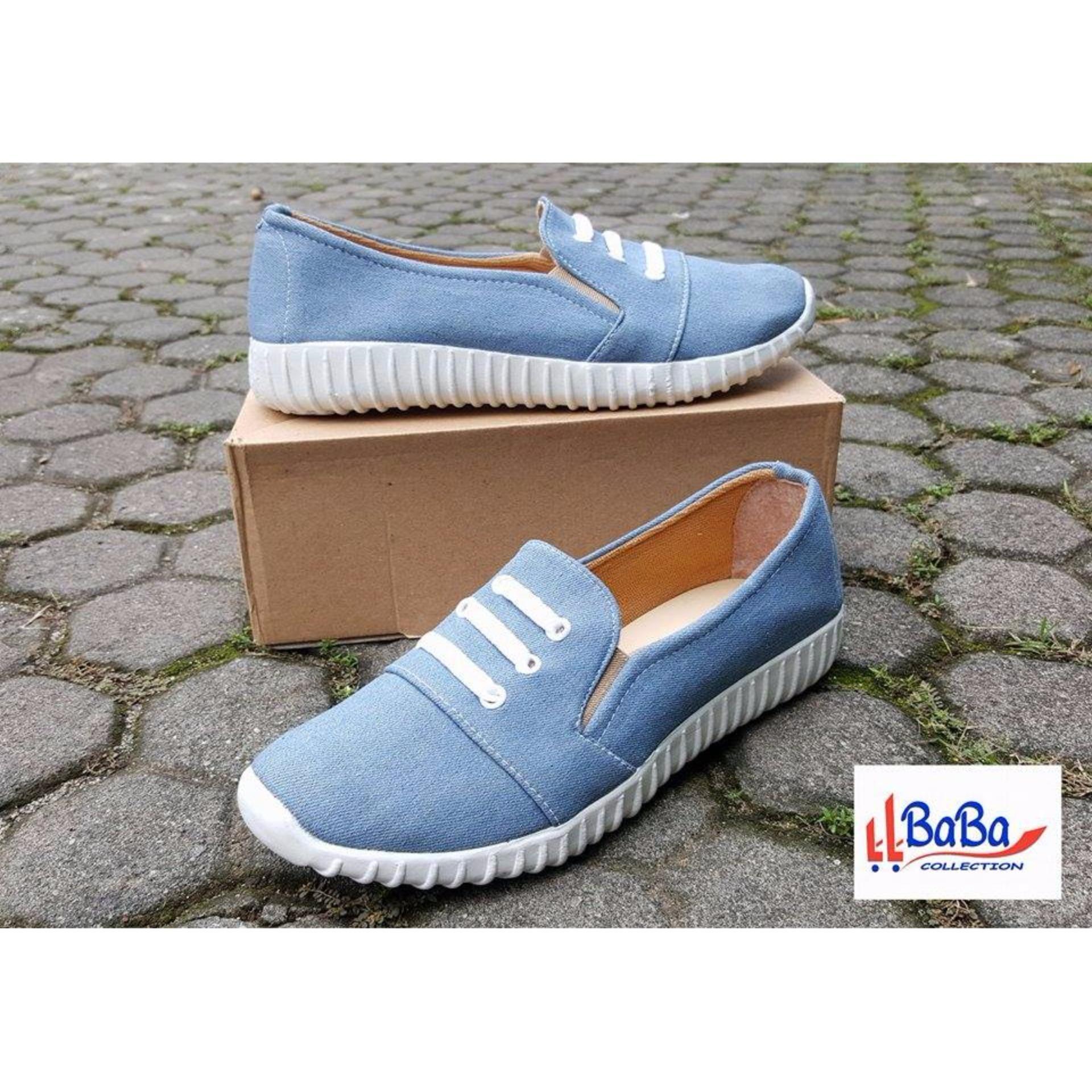 Beli Sepatu Sneakers Wanita Jeans Biru Muda Online Jawa Barat