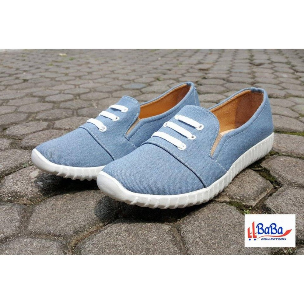 Beli Sepatu Sneakers Wanita Slip On Jeans Baba Collection Asli