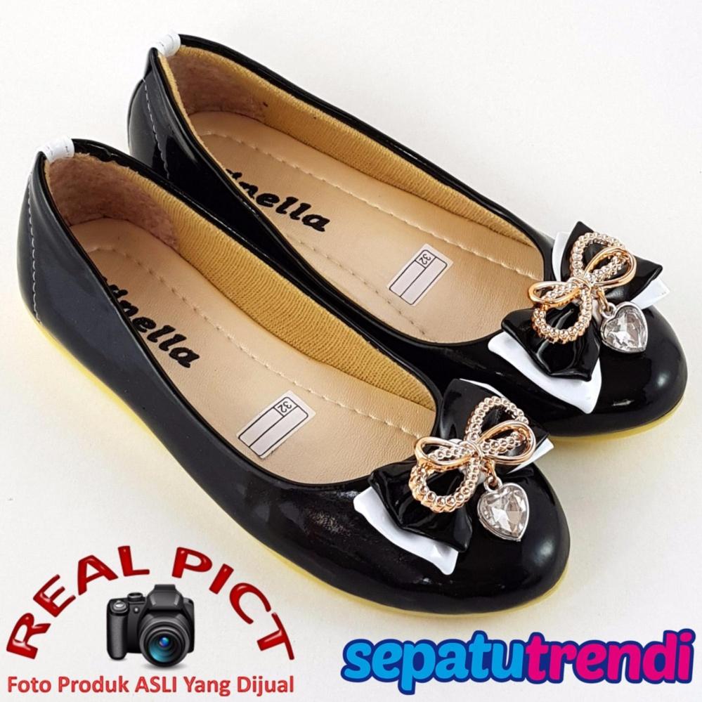 Harga Sepatu Trendi Sepatu Anak Perempuan Flat Shoes Pita Vn03 Hitam Yang Murah
