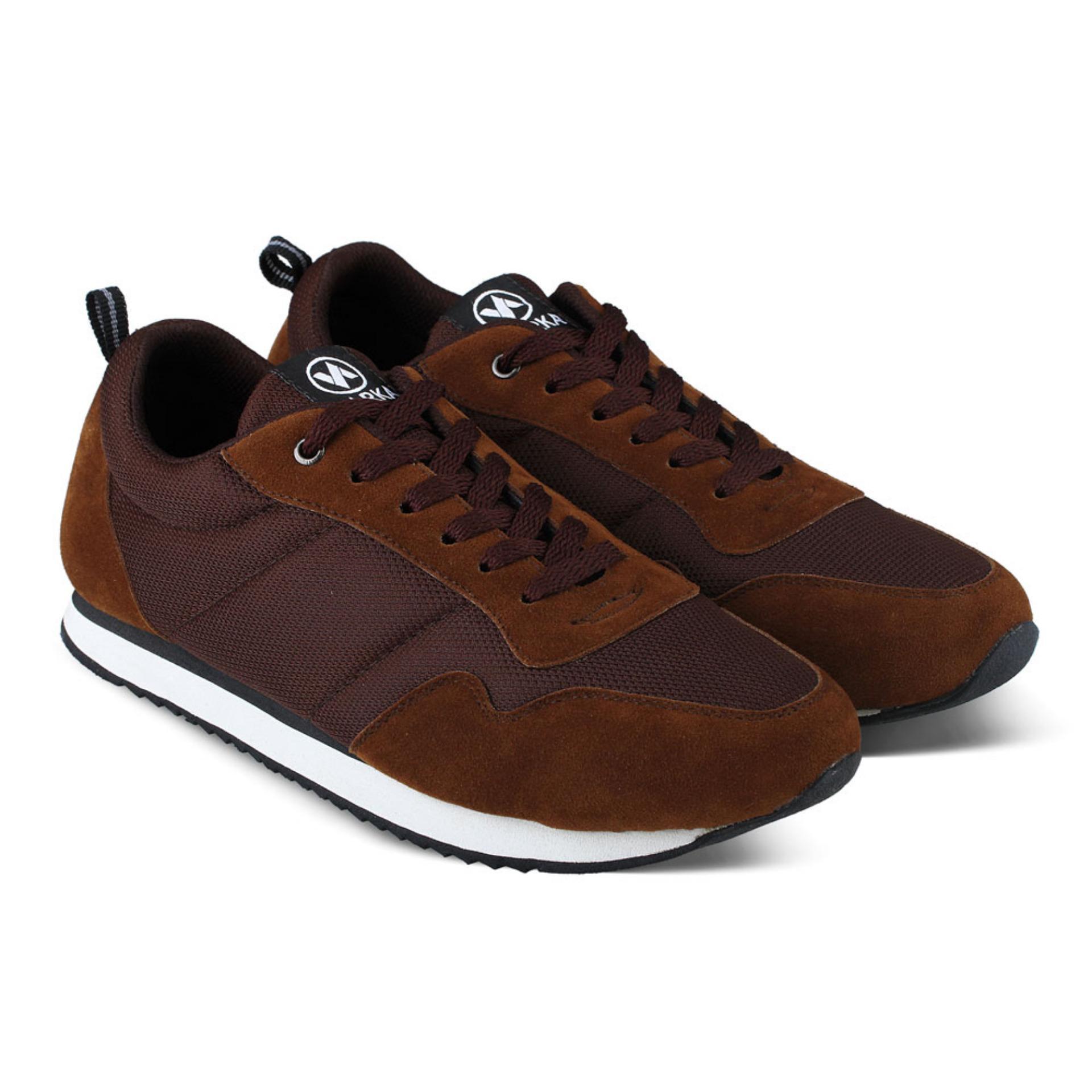 Sepatu VDB 459 Sepatu Sneaker kets dan Kasual Pria utk olahraga, joging lari, jalan, kuliah, kerja, sekolah - Coklat