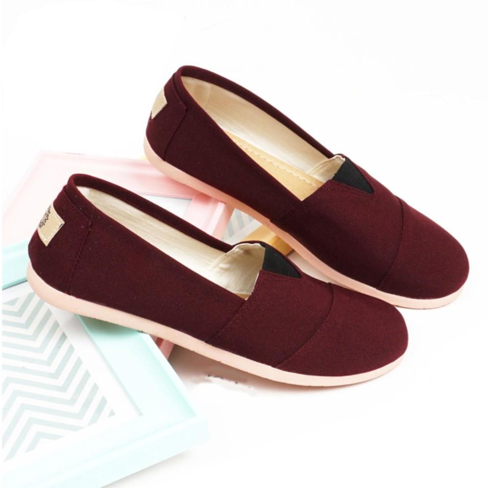 Sepatu Wanita Flat Shoes ala Wakai Slip On Kanvas SV55 - Maroon