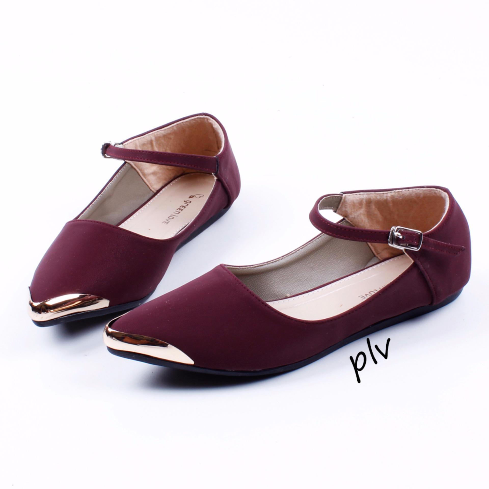 Beli Sepatu Wanita Flat Shoes Mary Jane Ag06 Maroon Pluvia