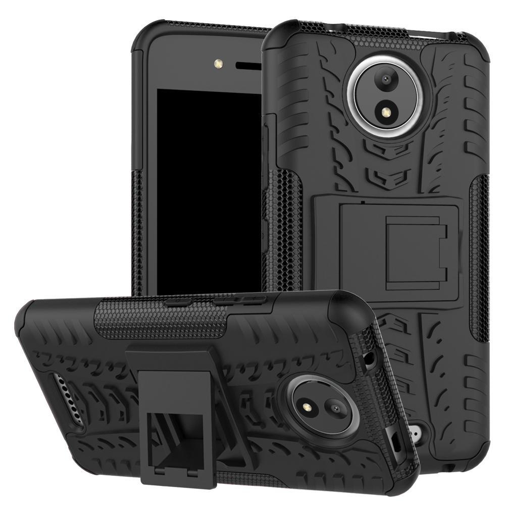 Sepeda/dinonaktifkan Mobil Ban Pola 2-In-1 TPU + PC Hibrida Mobile Menutupi Belakang With Kickstand For Motorola MOTO C -hitam