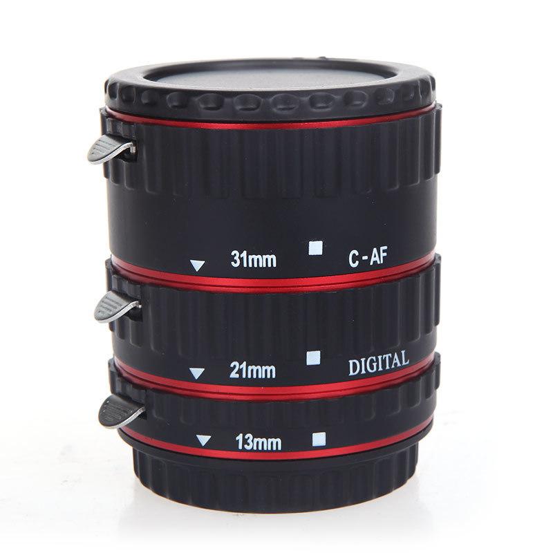 Jual Set Tabung Ekstensi Makro Metal Ttl Auto Focus For Canon Eos Ef Ef S 60D 7D 5D Ii 550D Merah Branded Original