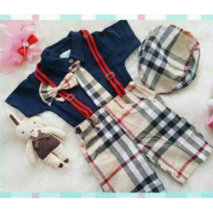 Toko Setelan Anak Cowok Kemeja Kotak Plus Suspender Dan Topi Baju Anak Laki Laki Murah Stelan Formal Dasi Pakaian Pesta Bayi Nees