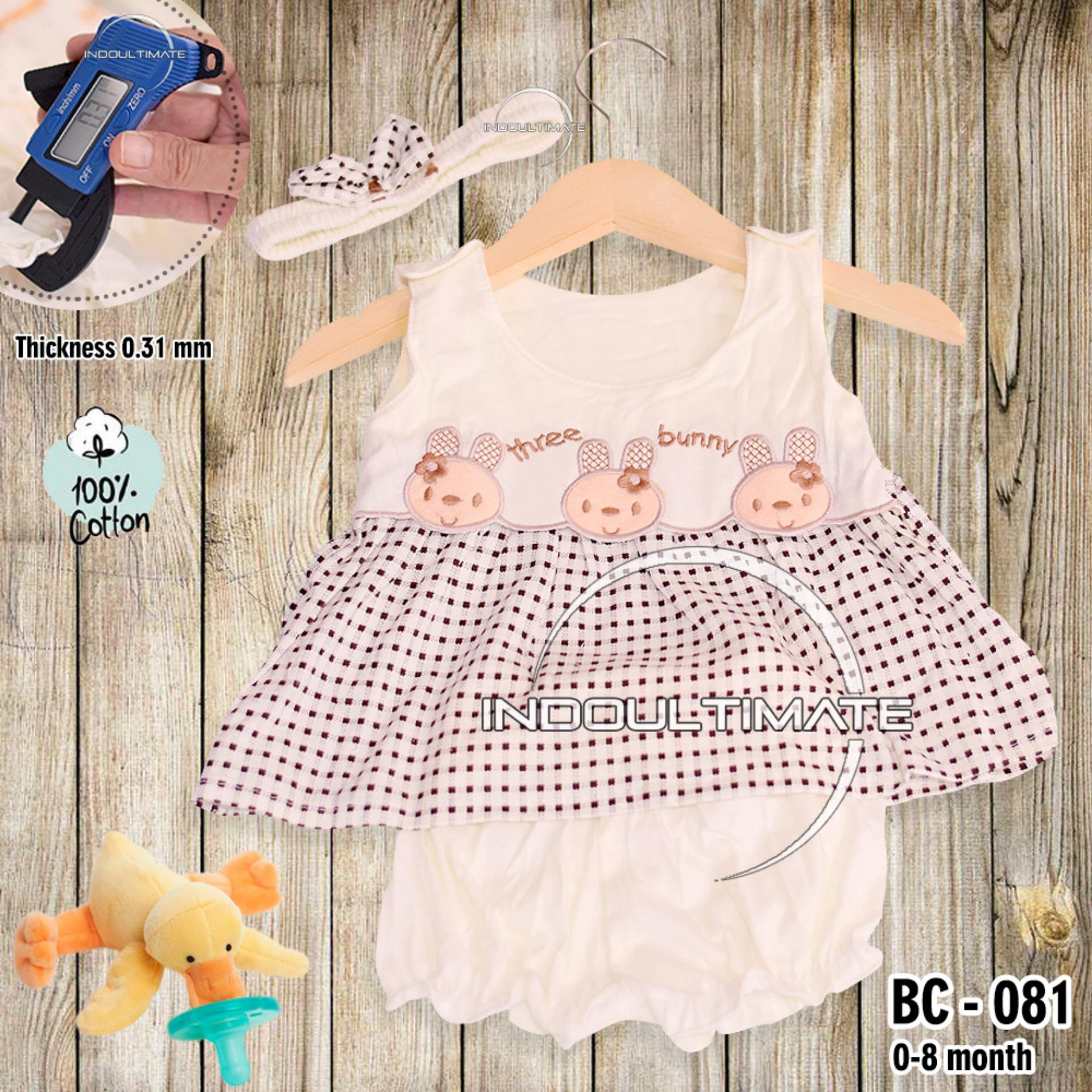 Setelan Baju Baby Cewek / Pakaian Anak Bayi Cewek / Perempuan BY BC-081 BAJU BABY CEWEK SATU SET ATASAN + CELANA + BANDO LUCU