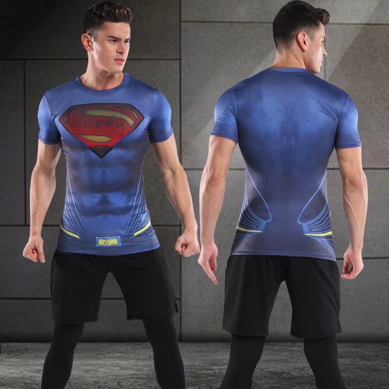 Harga Setelan Pusat Kebugaran Pria Tiga Potong Cepat Kering Biru Gelap Biru Superman 3 Set Online