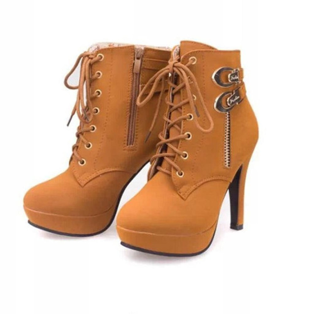 Harga S*xy Women Round Toe Ankle Boots High Heels Lace Up Shoes Buckle Platform Boots Intl Oem