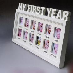 Shangqing Tahun Pertama Saya Wall Hanging Baby Cetakan Foto Gambar Bingkai Kenang-kenangan, Putih-Intl