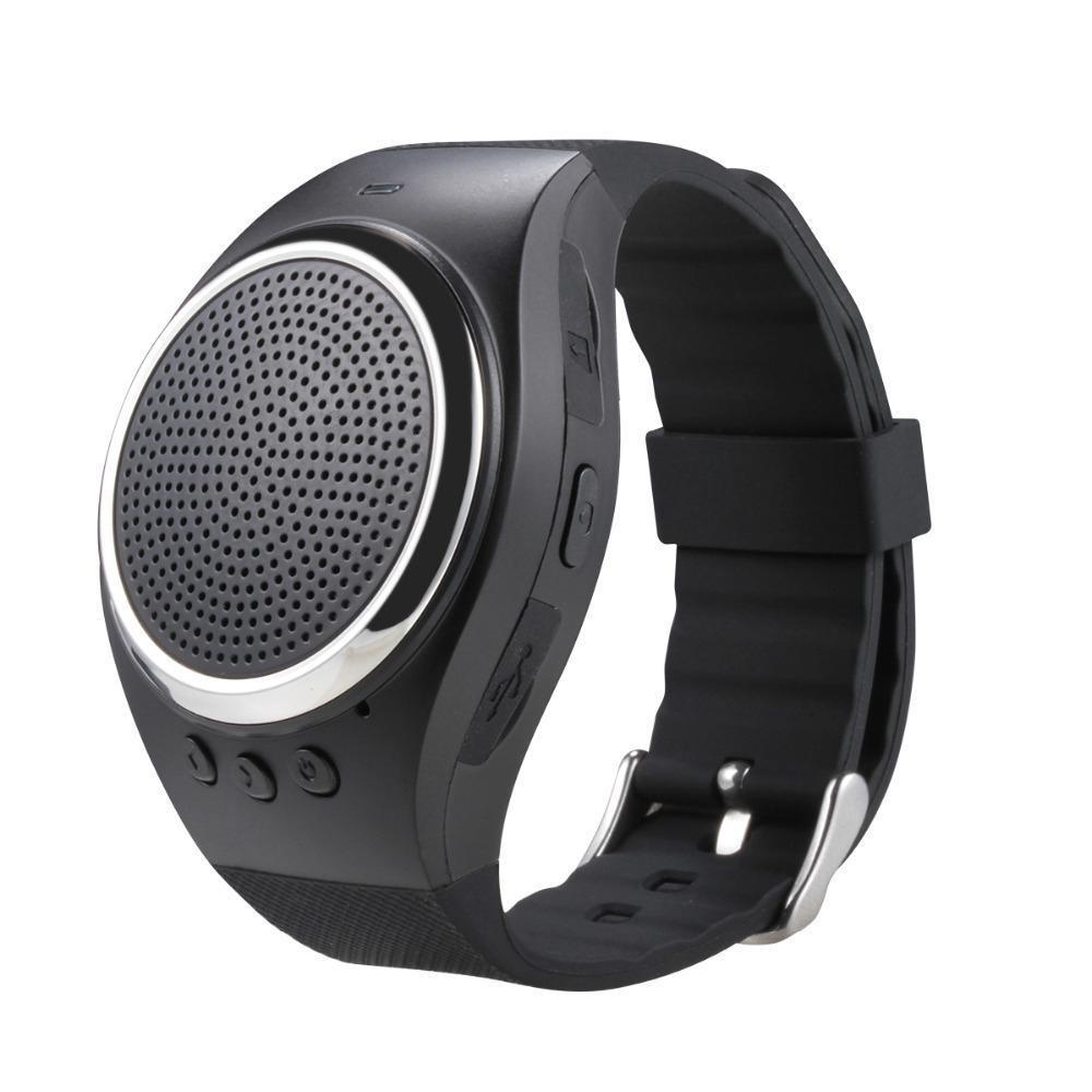 Shangqing Olahraga Musik Bluetooth Nirkabel Speaker Watch A dengan FM Radio, Panggilan Handsfree, TF Kartu Bermain, Selfie Rana, Jam Alarm HP Anti-hilang untuk Smartphone, Hitam-Intl
