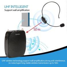 Shidu 10 Watt UHF Nirkabel Penguat Suara dengan Headset Nyaman Pinggang Penghangat Leher dan Klip Sabuk untuk Guru, Pemandu Wisata, Pelatihan pertemuan Mendukung Rekaman TF Cardᆪᆲmp3 Format Audio dan U Disk-Hitam