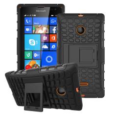 Shockproof Heavy Duty Combo Hybrid Dual Layer dengan Kickstand untuk Microsoft Lumia 435 (Hitam) -Intl