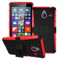Shockproof Heavy Duty Combo Hybrid Dual Layer dengan Kickstand untuk Microsoft Lumia 640 XL (Merah) -Intl