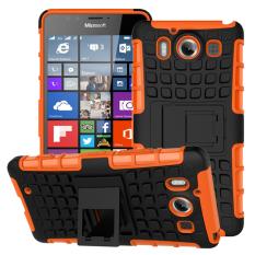 Shockproof Heavy Duty Combo Hybrid Dual Layer dengan Kickstand untuk Microsoft Lumia 950 (2015 Rilis) (Orange)-Intl