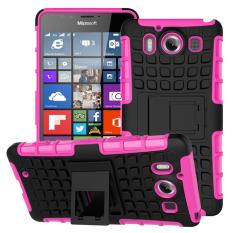 Shockproof Heavy Duty Combo Hybrid Dual Layer dengan Kickstand untuk Microsoft Lumia 950 (2015 Rilis) (Pink)-Intl