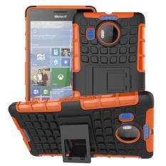 Shockproof Heavy Duty Combo Hybrid Dual Layer dengan Kickstand untuk Microsoft Lumia 950XL/950 XL (Orange) -Intl