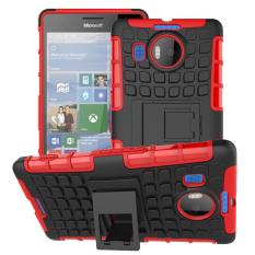 Shockproof Heavy Duty Combo Hybrid Dual Layer dengan Kickstand untuk Microsoft Lumia 950XL/950 XL (merah) -Intl