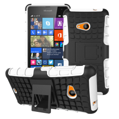 Shockproof Heavy Duty Combo Hybrid Rugged Dual Layer Grip Case Cover with Kickstand for Microsoft Nokia Lumia 535 (White) - Intl