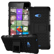 Shockproof Heavy Duty Combo Hybrid Dual Layer dengan Kickstand untuk Microsoft Nokia Lumia 540 (HITAM) -Intl