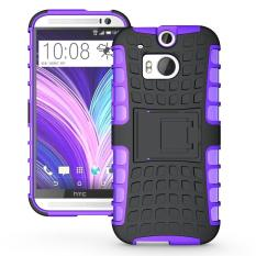 Shockproof Heavy Duty Combo Hybrid Dual Layer Grip Cover dengan Kickstand untuk HTC One (M8)-Intl