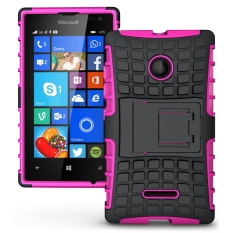 Shockproof Heavy Duty Combo Hybrid Rugged Dual Layer Grip Cover with Kickstand For Microsoft Lumia 435 - Intl