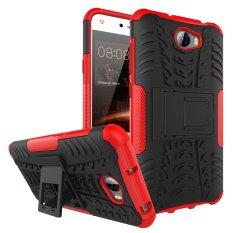 Shockproof Kickstand Pola Ban Dilepas 2 In 1 Hibrida Combo Body Armor Case Cover Defender untuk Huawei Ascend Y5 II -merah-Intl