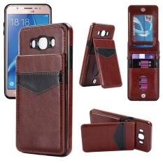 Shockproof Leather Case dengan Pemegang Kartu Premium PU Kulit Kickstand Gesper Magnetik Tahan Lama Dompet Case Cover untuk Samsung Galaxy J7 2016/J710-Intl