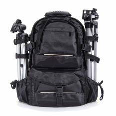 Tahan Guncangan Waterproof DSLR Case Tas Ransel Kamera For Canon Nikon + Pelindung Hujan (hitam)